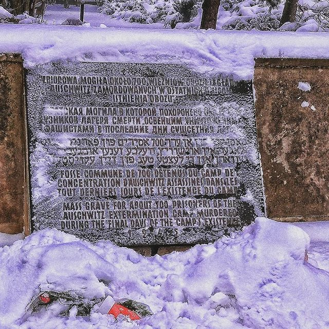 The plaque at the monument & mass grave located outside the Auschwitz I site. It marks the location where around 700 corpses of victims of Auschwitz - those who died just before and just after the liberation were buried in February 1945. --- Photo by @athatch24 ---