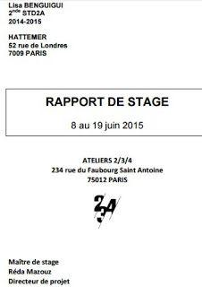 rapport de stage et fin etudes | Rapport de stage 3eme ...