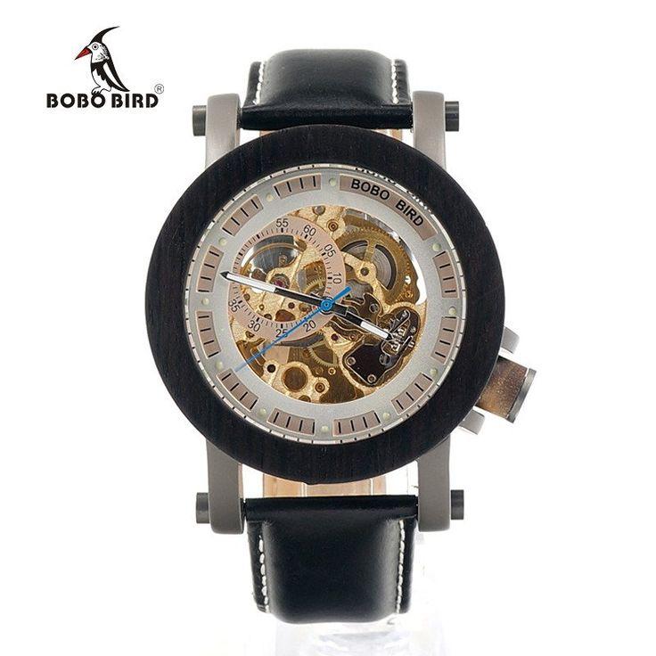 BOBO BIRD Mens Black Ebony Bezel Mechanical Wristwatches Golden Movement Skeleton