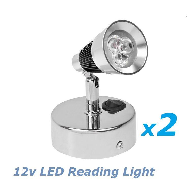 2x12V DC LED Rotate Reading Light Bedside Light Cold White Plating base RV/Caravan/Camper Trailer Interior Wall Lamp