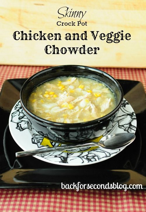 Skinny Crock Pot Chicken and Veggie Chowder Recipe ~ super easy to make... It tastes really really good. It's hearty and comforting and full of flavor. Perfect on cold nights!