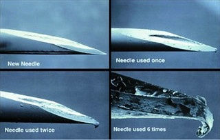 A hypodermic needle's microscopic wear from multiple uses