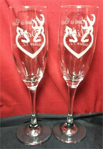 Deer Wedding Buck Doe Heart Bow Champagne Flutes, Wedding Anniversary Personalized