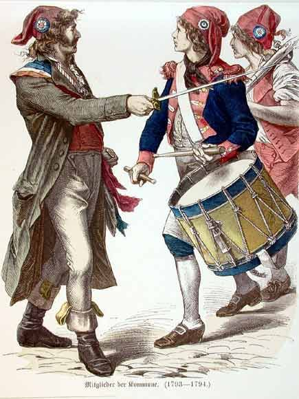 In the French Revolution, the sans-culottes were the radical partisans of the lower classes; typically urban laborers.  The appellation refers to the fashionable culottes (silk knee-breeches) of the moderate bourgeois revolutionaries, as distinguished from the working class sans-culottes, who traditionally wore pantaloons (pants). During the peak of their influence, roughly 1792 to 1795, the sans-culottes provided the principal support behind the two far-left