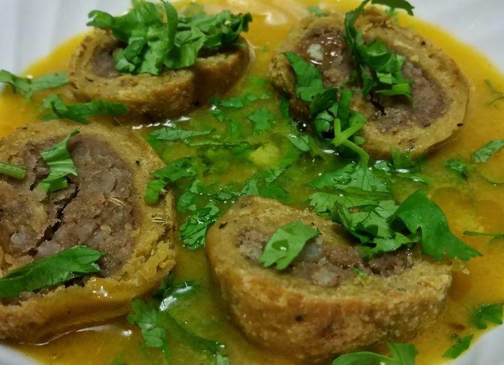 Bafla (Potato filled Whole Wheat Dumplings in Lentil Soup)