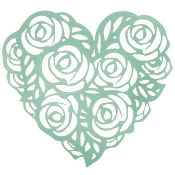 Turquoise Rose Heart Metal Wall Decor