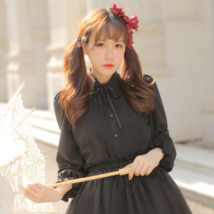 Dolly Delly Japanse Lolita Collage Stijl Lantaarn Lange Mouw Zoete Lolita Chiffon Blouse voor Meisje Vier Kleuren in Xlmodel- maat- 9999grootte van de tafelmeting in cmgrootteschouderbustelengtemouwgratis34966267 meting in inchgroo van Shirts& blouses op AliExpress.com | Alibaba Groep