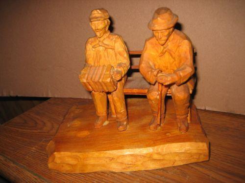 Vintage German Hand Carved Black Forest Wood two men on wood bench. in Antiques, Decorative Arts, Woodenware, Carved Figures   eBay