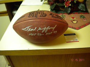 Frank Gifford Autograph Official NFL Football New York Giants PSA/DNA . $224.99. This is a Autograph Official NFL Football ( Paul Tagliabue ) of  New York Giants HOF Frank Gifford. The football is signed in silver sharpie. With the inscription of  HOF 77 & MVP 56.,Ball has been psa/dna cerified,Please see scan.,Thank you !!