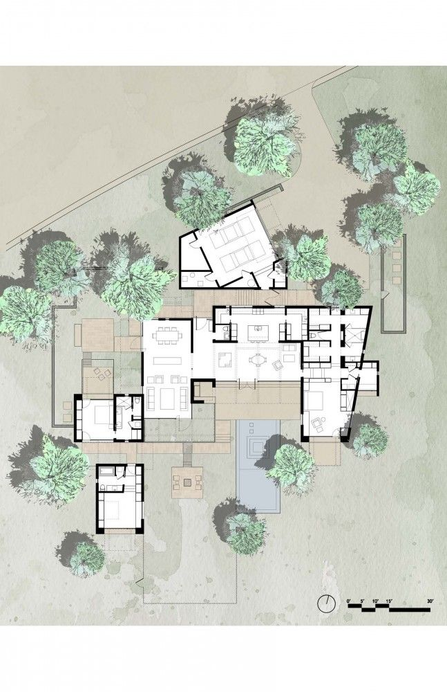 The Brown Residence floorplan by Lake|Flato Architects / site plan, mixed technique