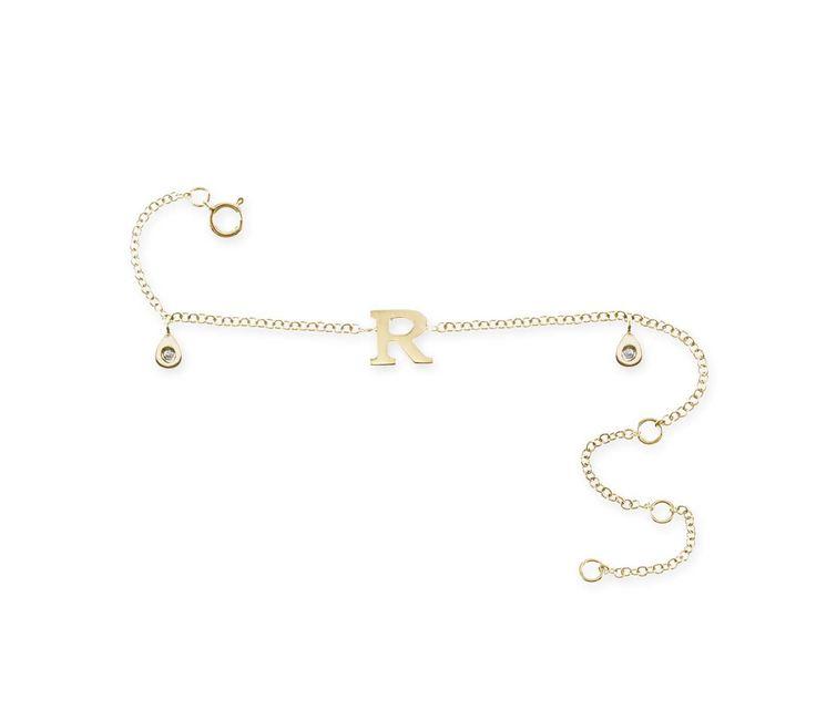 Pulsera Inicial R MINI DETAILS NICOL´S. Pulsera articulada con cadena, inicial letra, dos colgantes en forma de gotita con piedra en el centro