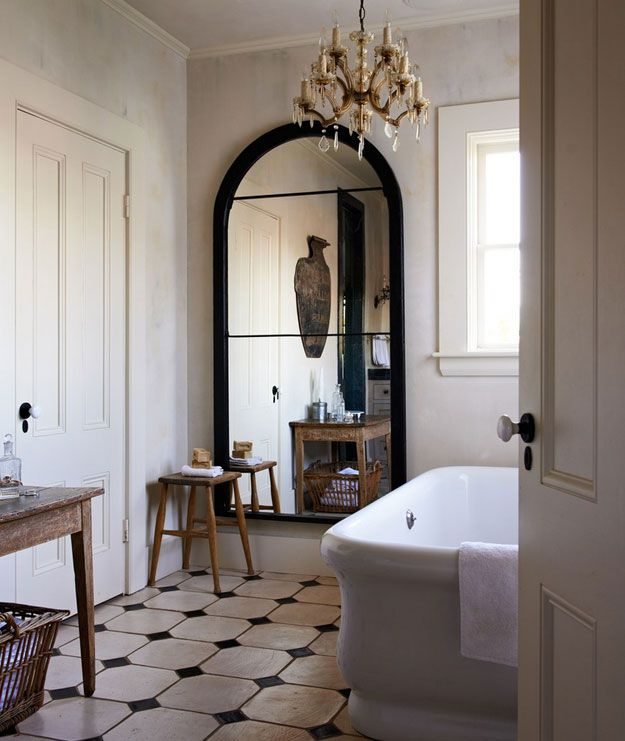 17 best images about bathroom on pinterest hotel bathrooms marbles and clawfoot tubs for Shattered mirror bathroom floor