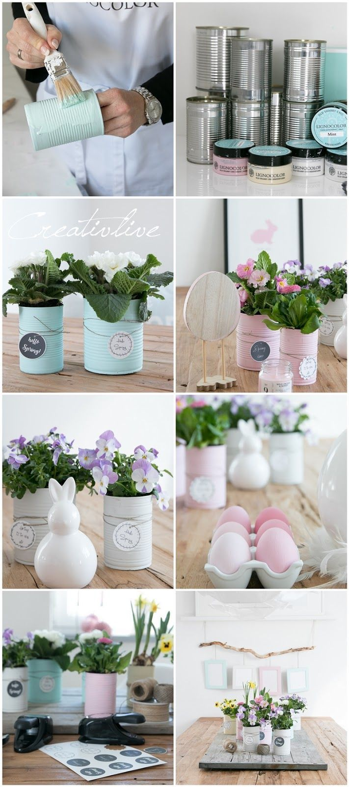 Upcycling canned food in pastel colors