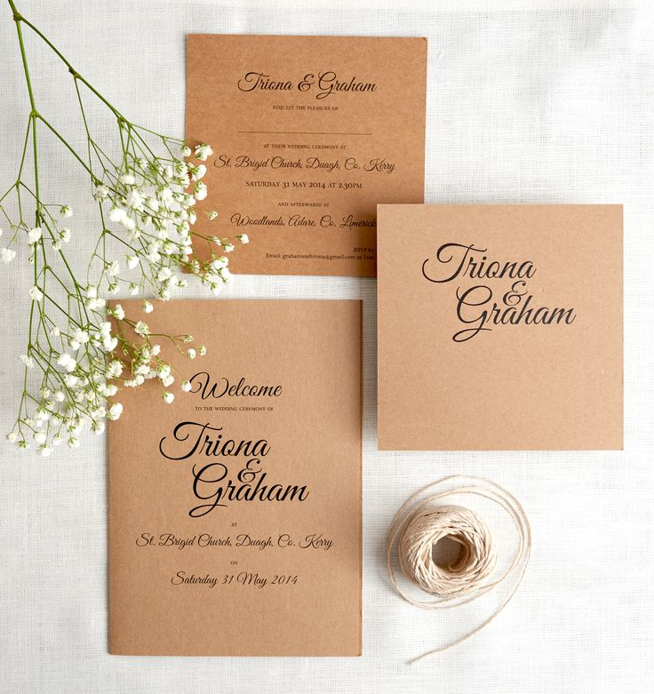 Rustic wedding invitation suite. Kraft brown card