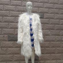 Güz kış kürklü kabarık sahte kürk ceket ceket kadınlar için, beyaz renk ile sahte yapay kürk mantolar ve ceketler kürk(China (Mainland))