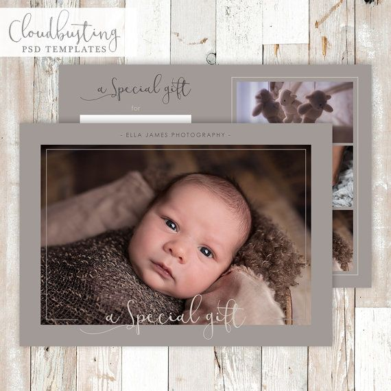Photography Gift Certificate Card - Customizable Photoshop Template - https://www.etsy.com/listing/285372991