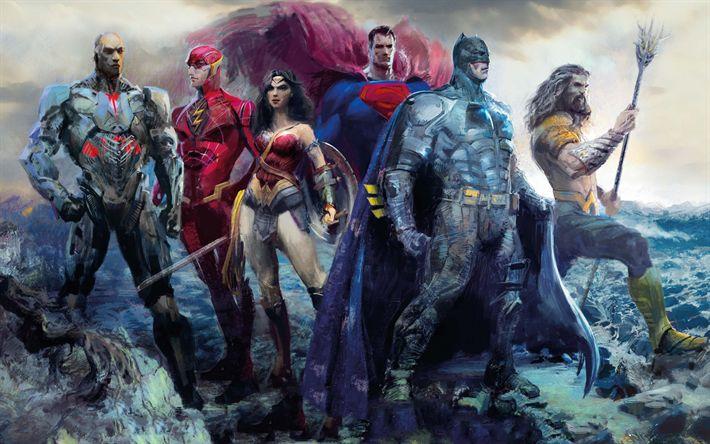 Herunterladen hintergrundbild justice league, 2017, kunst, poster, superhelden, charaktere, dc comics, cyborg, aquaman, wonder woman, superman, batman, the flash