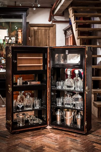 1900's Louis Vuitton Wardrobe Trunk Converted into a Cocktail Bar