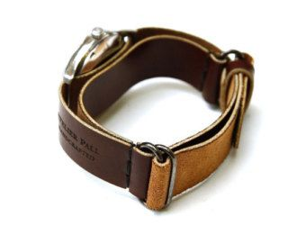 AtelierPall watch strap in brown leather watch cuff by LeatherPall