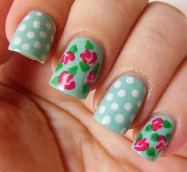 Pinned by www.SimpleNailArtTips.com TUTORIALS: NAIL ART DESIGN IDEAS -vintage rose nail art tutorial