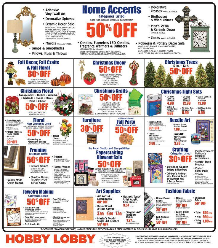 Hobby Lobby Weekly Ad November 22 - 28, 2015 - http://www.kaitalog.com/hobby-lobby-weekly-ad.html
