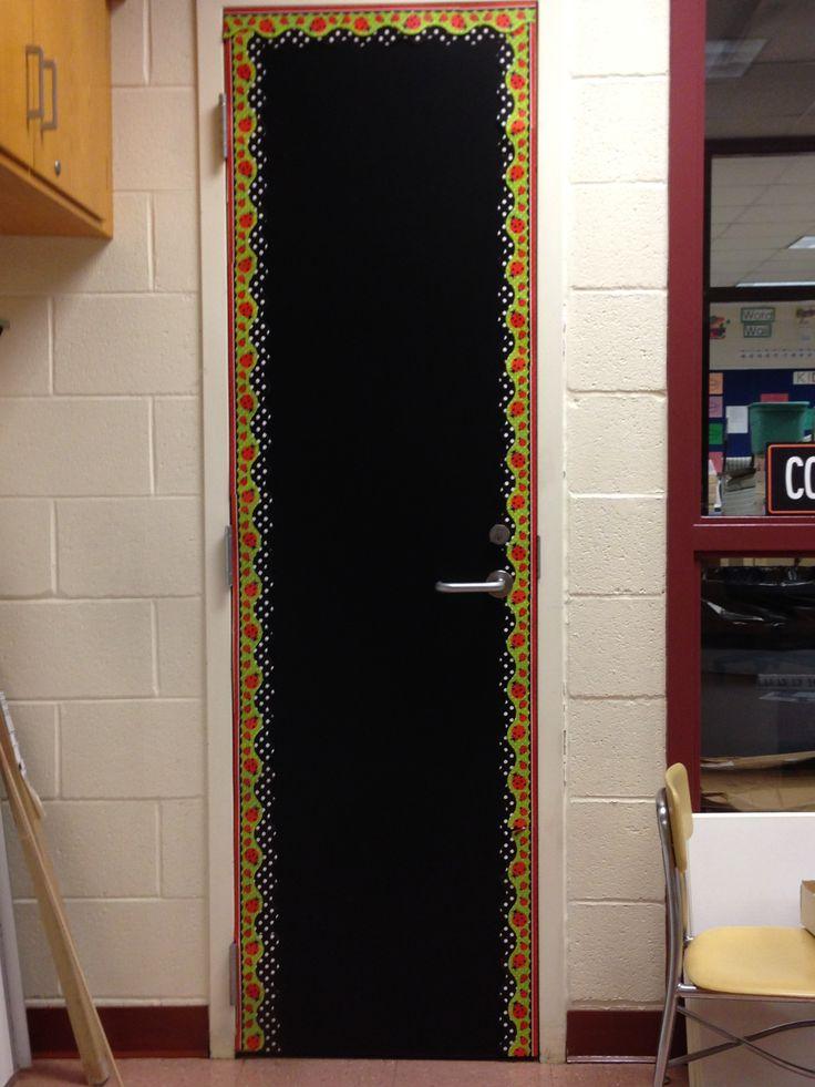 I love chalkboard adhesive! Wood closet door into chalkboard.