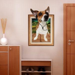 3D Dog Photo Frame Kids Room Wall Sticker - BROWN 60*90CM