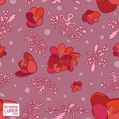 Seamless Winter Snowflakes Pattern by Brooke Luder - ditsy patterns, wallpaper, backgrounds, repeat, repeating, fabric, print, pink, crocus, flowers, petals, snow, snowflakes, illustration   https://stock.adobe.com/nz/contributor/206825898/brooke