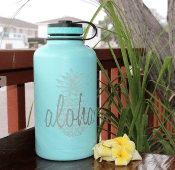 808 HI-DR8, Hydro Flask, 62oz, Aloha Pineapple Engraving