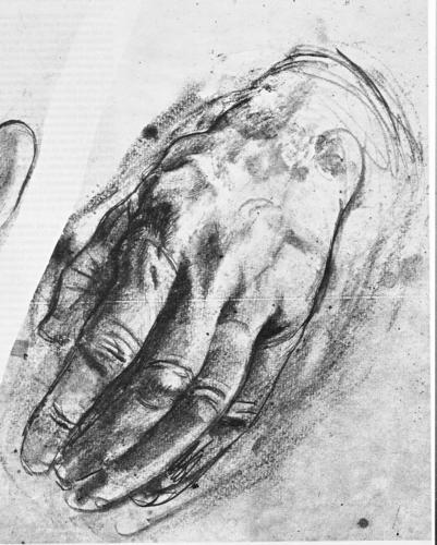 Manos,+de+Antonio+López.+:+Me+pareció+genial+este+dibujo,+con+tanta+fuerza+y+monumentalidad+que+casi+podríamos+hablar+de+la+terribilitá+de+Miguel+Ángel.+Es+una+mano+que+tiene+una+viva+y+fuerte+presencia;+es+una+mano+de+la+tierra;+yo+me+la+imagino+de+un+hombre+del+campo,+de+estos+sabios+de+la+vida+sencilla+que+se+han+curtido+con+el+duro+trabajo+diario,+en+contacto+con+lo+más+llano+del+mundo+y+a+la+vez+con+lo+más+significativo+de+lo+espiritual.+Pero