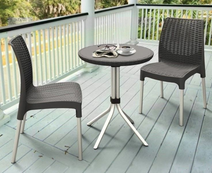 Patio Furniture Dining Set Outdoor Table And Chairs Bistro Sets 3 Piece Dk Gray #Keter