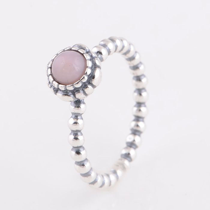 Original 925 Sterling Silver Vintage Ring Pink Opal October Birthstone Engagement Ring Compatible with Pandora Fashion Jewelry(China (Mainland))