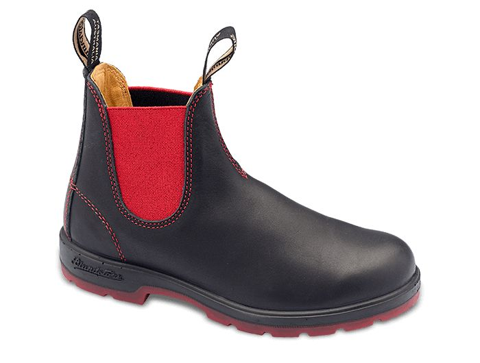 $190  Austalian Blundstone Super 550 Series Style 1316 black leather w red elastic + outsole + red contrast stitching details