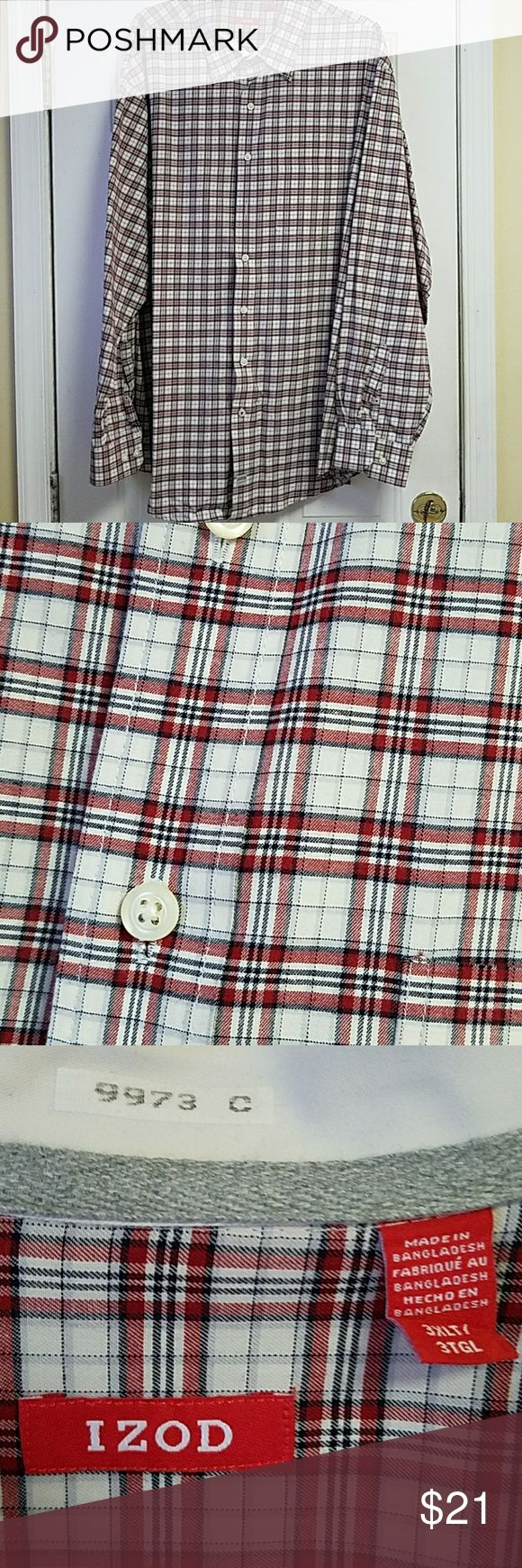 Big& Tall Men's shirt Size 3XLT Long sleeve button down 100% cotton Izod Shirts Dress Shirts