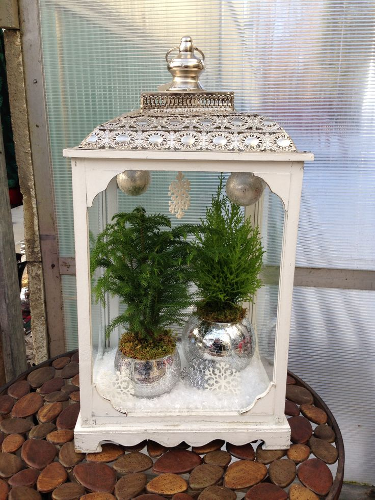 Add a few items at the top of your container to create a winter wonderland look