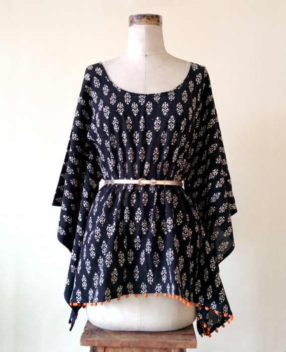 Black and White Hand Block Printed Cotton Kaftan by MograDesigns
