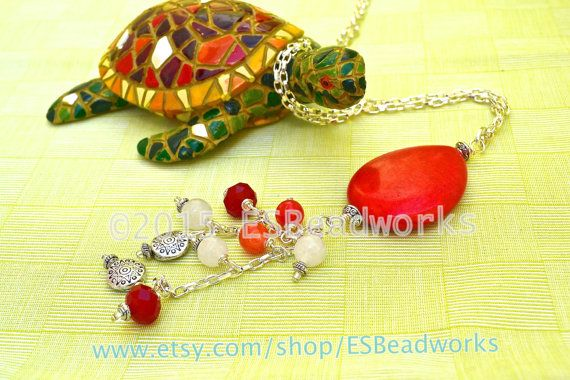 Red Pendant Necklace Coral Necklace Summer Pendant by ESBeadworks