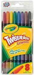 Crayola Twistables Crayons 8/Pkg Classic Colors 52-7408; 3 Items/Order by Crayola. $11.97. Dimensions: 7.98 in. h x 3.54 in. w x 0.47 in. d. Weight: 0.23 ounces. Made in MX. CRAYOLA-Twist up the fun! Includes 8 twistable crayons in classic colors. No label peeling or sharpening needed. Plastic barrel makes Twistables super strong. Cool coloring tool for older kids.