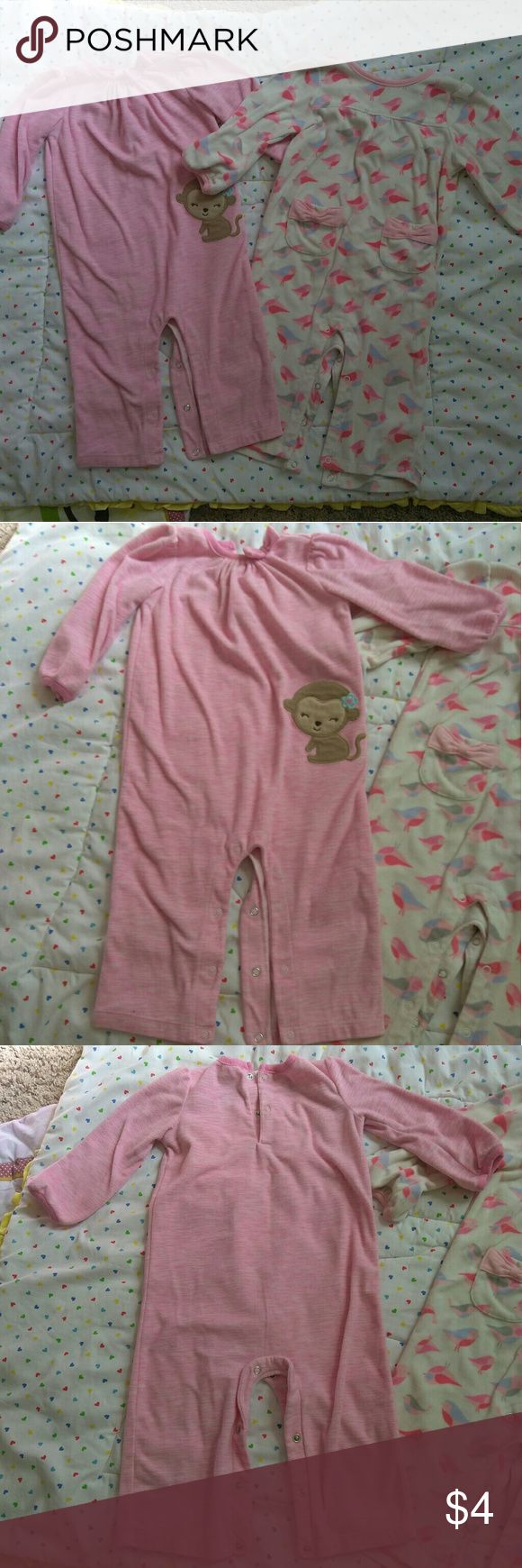 Two 18 Month Baby Girl Pajama Onesies Excellent used condition. Set of two baby girl pajama onesies. Very soft. Carter's One Pieces