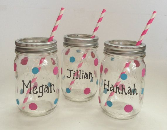 Hand Painted Mason Jar Glasses In Customized Colors For Bridal Shower Favors Wedding Receptions Bachlorette Parties And Special Events