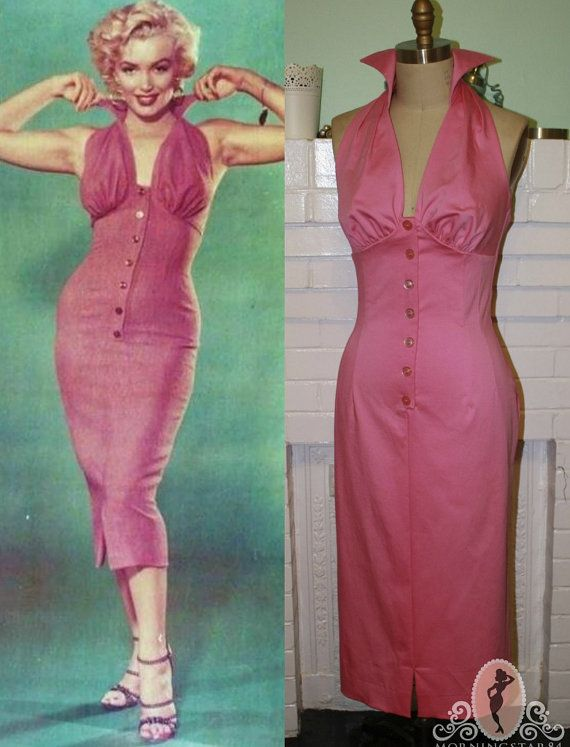 Marilyn Monroe Halter Dress -Button Front Wiggle- Pinup-Custom Made to Size on Etsy, $175.00