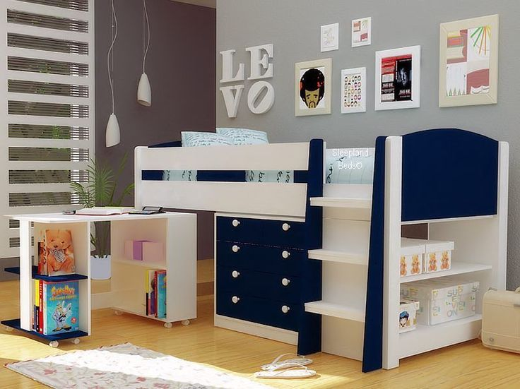Boys Navy Blue And White Midsleeper Bed With Storage Desk New Mid Sleeper