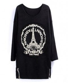 Iron Tower Pattern Zipper Decoration Pullover