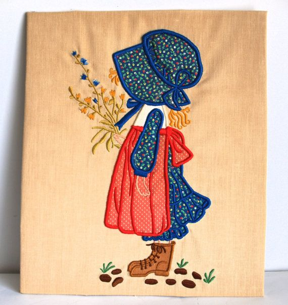 Vintage Holly Hobbie Wall Hanging Applique  70s by FunkyKoala