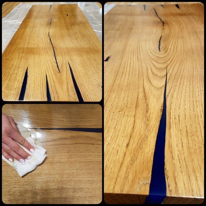 Table top - oak wood and blue epoxy resin :)