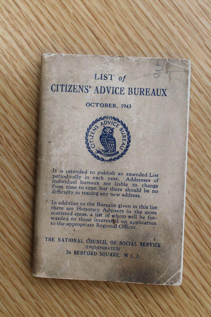 list of Citizens Advice Bureaux 1943