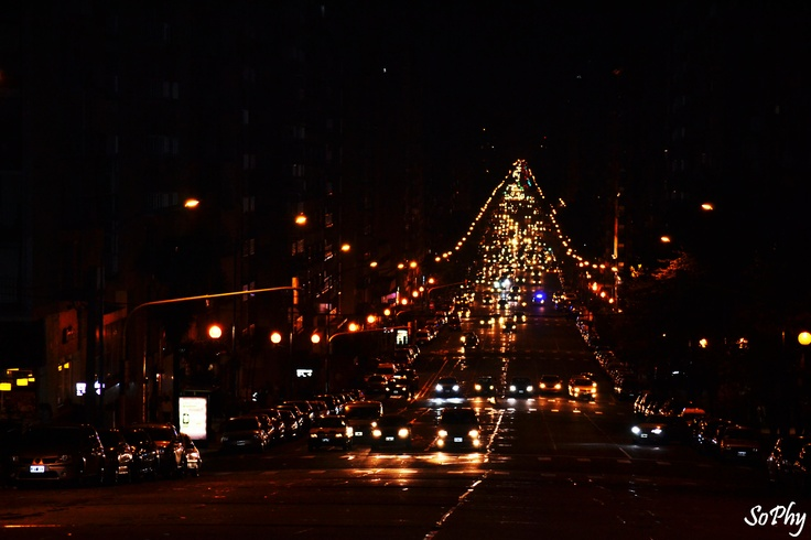 Mar Del Plata city at night, photography
