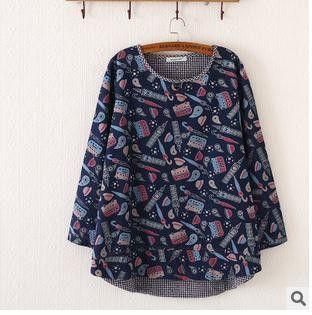 Mori Girl Japanese Hoodies Long Sleeve O-neck Print Loose Irregular Large Size Sweet Casual Fashion Style 2017 Fall Women New