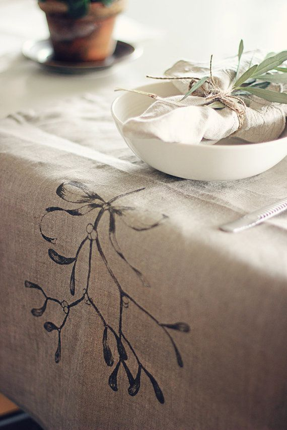 Eco friendly linen hand screen printed table runner by StrandRedesign. Mistletoe for the Christmas table!