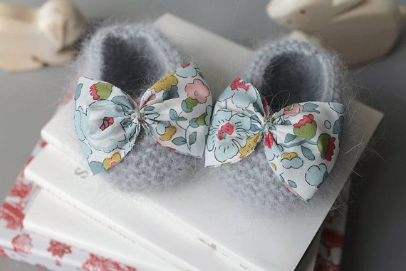 Angora baby booties with Liberty fabric bowtie.